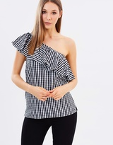 Warehouse Gingham Ruffle One-Shoulder Top