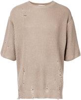 Monkey Time Distressed Half Sleeve Sweater