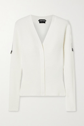 Tom Ford Zip-embellished Ribbed Wool-blend Cardigan - Ivory