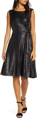 Tahari Matte Sequin Side Tie Sleeveless Fit & Flare Dress