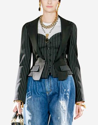 Dolce & Gabbana Dolce Blazer With Pinstripe Stretch Wool Bustier