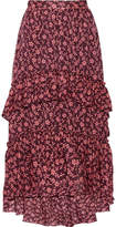Ulla Johnson Maria Ruffled Printed Cotton And Silk-blend Jacquard Maxi Skirt - Burgundy