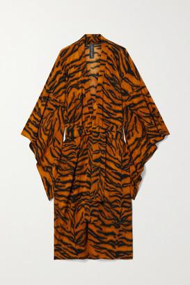 Norma Kamali Belted Tiger-print Stretch-jersey Robe - Camel