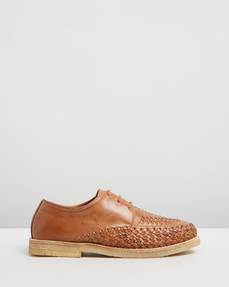 Double Oak Mills Ainslie Woven Leather Lace-Up Shoes