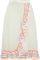 Lemlem Afia Ruffled Striped Cotton-blend Gauze Skirt - Sky blue