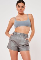 Missguided Grey Croc Effect Faux Leather Shorts