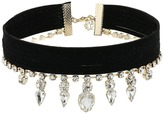 GUESS Multi Row Fabric Choker with Stone Drop Necklace Necklace