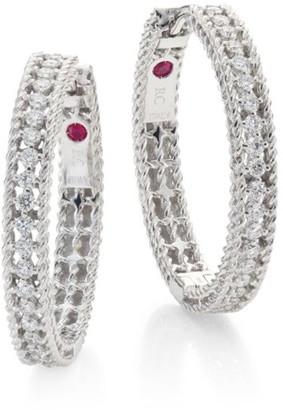 "Roberto Coin Symphony Diamond & 18K White Gold Hoop Earrings/0.75"""