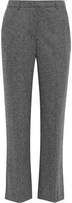 Iris & Ink Candice Melange Wool-blend Straight-leg Pants
