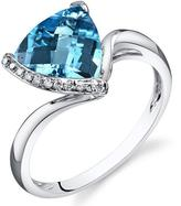 Ice 2 3/4 CT TW Swiss Blue Topaz 14K White Gold Fashion Ring with Diamond Accents