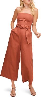 ASTR the Label Kona Strapless Wide Leg Crop Jumpsuit