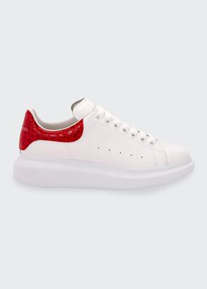 Alexander McQueen Men's Leather Sneakers w/ Croc-Print Back