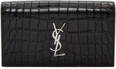 Saint Laurent Black Croc-Embossed Monogram Kate Clutch
