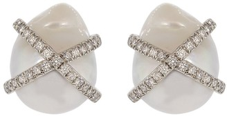 Verdura Diamond Wrapped Pearl Earrings
