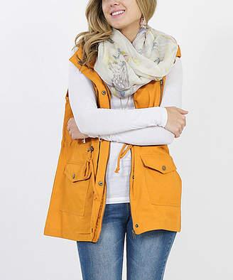 Ash Lydiane Women's Outerwear Vests  Mustard Hooded Military Pocket Vest - Women