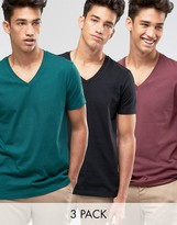 Asos 3 Pack T-shirt With V-neck In Black/red/green