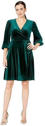 Tahari ASL Side Wrap Long Sleeve Velvet Dress (Hunter Green) Women's Dress