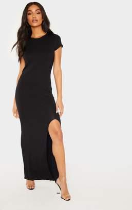 PrettyLittleThing Black Split T Shirt Midi Dress