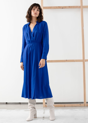 And other stories Open Collar V-neck Midi Dress