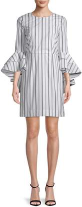 Milly Gabby Stripe Cotton Bell-Sleeve Dress