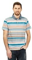 Mantaray Big And Tall Turquoise Striped Print Polo Shirt