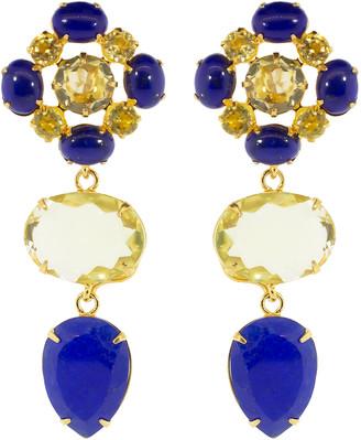 Bounkit Lapis and Lemon Quartz Earrings