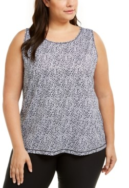 Ideology Plus Size Sleeveless Printed Mesh-Inset Top, Created for Macy's
