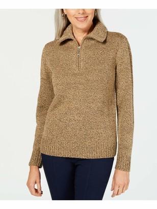Karen Scott Womens Brown Textured Long Sleeve Zip Neck Sweater Petites UK Size:12