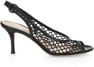 Gianvito Rossi Mesh Leather Slingback Pumps