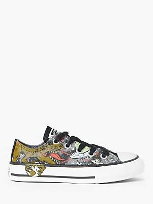 Converse Children's Chuck Taylor Interstellar Dinos Low-Top Canvas Trainers, Cool Grey/Olive Flak/Black