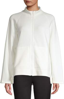 Eileen Fisher Organic Cotton Wide-Sleeve Cutout-Hem Track Jacket