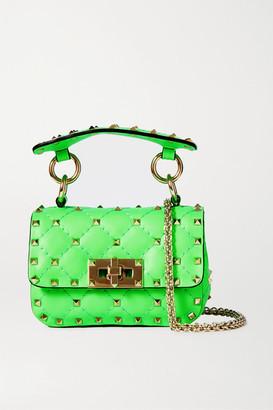 Valentino Garavani Rockstud Spike Mini Quilted Neon Leather Shoulder Bag - Green