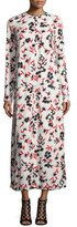 Marni Floral Long-Sleeve Midi Dress, Black/Red/White