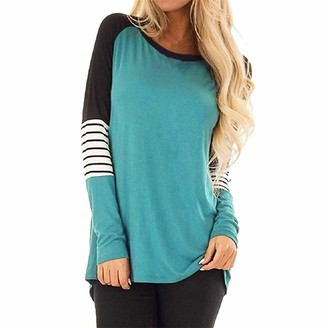 Lazzboy Tops Shirt Women Stripe Colour Block Long Sleeve O Neck Size 8-22 Ladies Slouch Blouse Oversized Plus Size(XL(14)