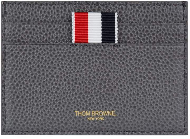 Thom Browne Grained Leather Striped Card Holder