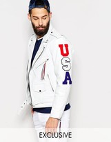 Reclaimed Vintage Leather Jacket With USA Patches