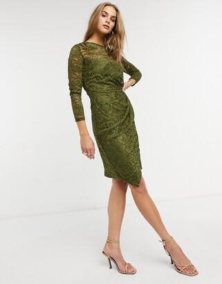 Little Mistress lace wrap front midi dress in olive