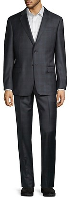 Armani Collezioni Super 130's Classic-Fit Plaid Virgin-Wool Suit
