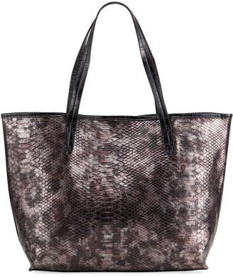 Neiman Marcus Iridescent Croc-Embossed Tote Bag
