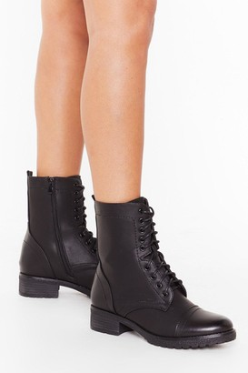Nasty Gal Womens Let's Stay Together Faux Leather Lace-Up Boots - black - 3