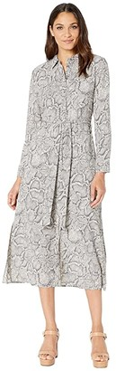 1 STATE Long Sleeve Patch Pocket Snake Print Maxi Dress (Feather Grey) Women's Dress