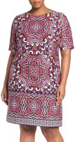 Eliza J Border Print Ponte Shift Dress (Plus Size)