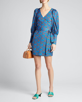 Rhode Resort Frankie Floral Long-Sleeve Wrap Dress
