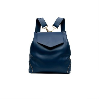 Holly & Tanager The Professional Leather Backpack Purse In Navy
