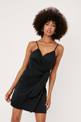 Nasty Gal Womens Night Out Satin Mini Dress - black - 4