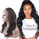 """Remeehi Loose Body Wavy Real Human Hair 3/4 Half Wigs Clip in Half Wig Hair Piece for Women (15"""" 140g 10#)"""