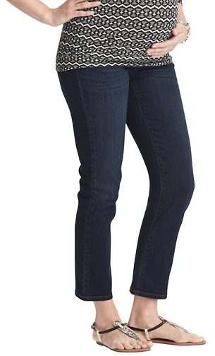 LOFT Maternity Modern Straight Cropped Jeans in Crisp Blue Wash