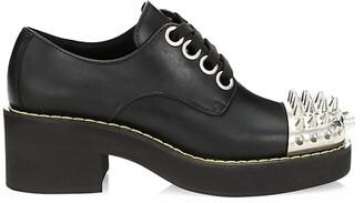 Miu Miu Spiked Leather Platform Oxfords