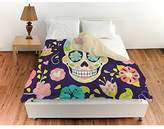 Shopping Experts Girls Purple Floral Sugar Skull Theme Duvet Cover 1 Piece, Beautiful Rich Decorative Girly Bohemian Flowers Skeleton Graphic Art Work Print, Artistic Design, Vibrant Colors Pink Blue Yellow