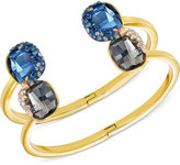 Swarovski Gold-Tone Blue and Gray Crystal and Pavé Double Hinged Bangle Bracelet